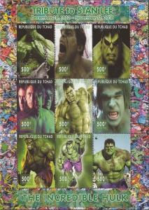 Chad - 2018 Stan Lee Tribute Incredible Hulk-  9 Stamp Sheet - 3B-631