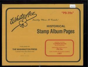 1987 White Ace U.S Commemorative Issue Plate Block Stamp Supplement Pages PB-39s