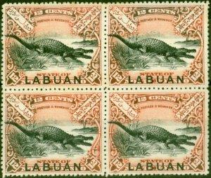 Labuan 1898 12c Black & Vermilion SG98a V.F MNH & LMM Block of 4