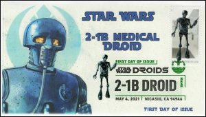 21-105, 2021,Star Wars Droids, 2-1B, First Day Cover, Digital Color Postmark,