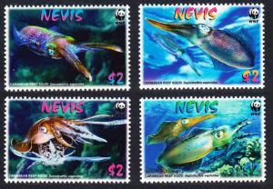 Nevis WWF Caribbean Reef Squid 4v SG#2155-2158 SC#2380-2383 MI#2380-2383