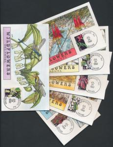 #2647 // #2696 WILDFLOWER (43) DIFF. HAND PAINTED COLLINS FDC CACHET BR687
