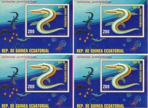 Equatorial Guinea 1978 Mi#Bl.305 Prehistoric Animals UNCUT Block of 4  S/S  MNH