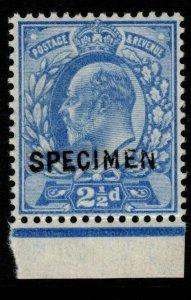 GB SG230s 1902 2½d ULTRAMARINE SPECIMEN MNH