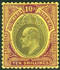 SOUTHERN NIGERIA-1908 10/- Grey-Black & Purple/Yellow.Lightly mounted mint Sg 31