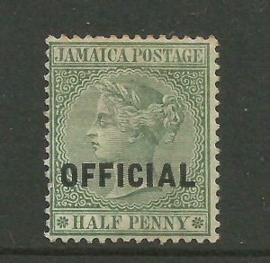 JAMAICA 1890/1 Sg O3, 1/2d Green Official (type 02) LM/Mint with gum. {B6-31}