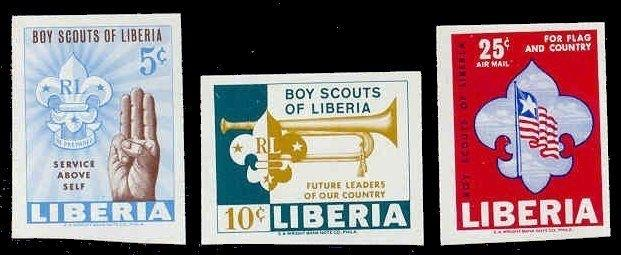 Liberia 1965 Boy Scouts Imperf Set (Scott #421-422 & C164)