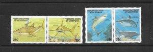 SHARKS - MICRONESIA #77a-80a PAIRS  MNH
