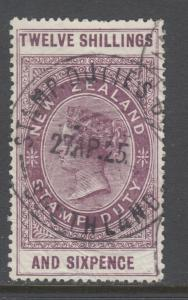 New Zealand Bft 246, SG F121 used. 1913 12sh 6p purple QV Postal Fiscal, Revenue