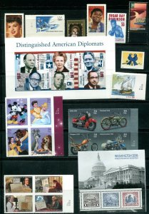 US 2006 Commemorative Year Set 99 stamps including 2 Sheets, Mint NH, see scans