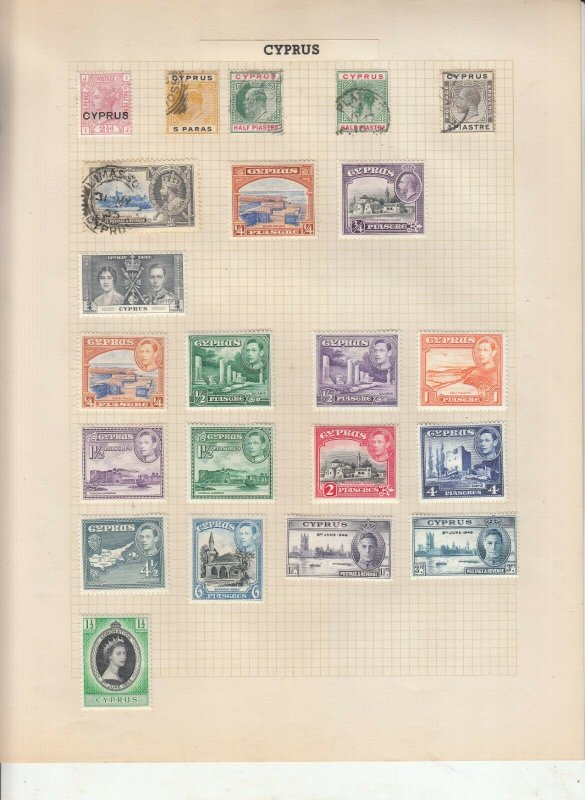 CYPRUS ALBUM PAGES,  VALUES MOSTLY GEORGE 5TH-QE 2ND, MOUNTED MINT/USED