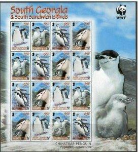 South Georgia 2008 wwf birds penguins klb 16v MNH