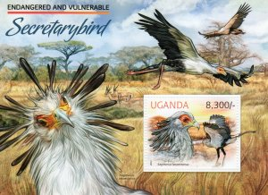 UGANDA 2012 SECRETARYBIRD FAUNA Souvenir Sheet (1) MNH