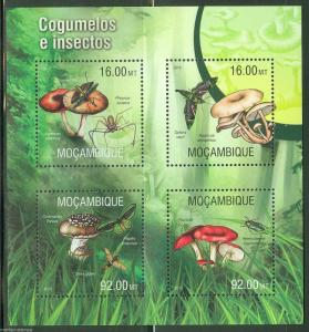 MOZAMBIQUE  2013 MUSHROOMS AND INSECTS  SHEET MINT NEVER HINGED