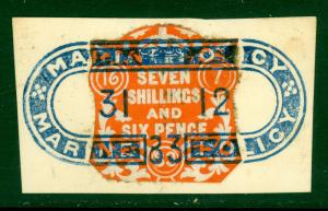 GREAT BRITAIN 1883 QV EMBOSSED 7s6d Revenue w XF MARINE POLICY Cancel