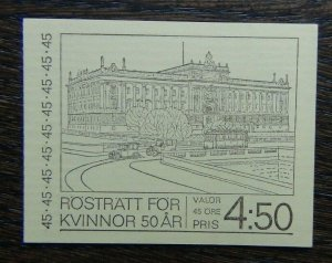 Sweden 1971 4.5 Krona Booklet 50th Anniversary of Swedish Women's Suffrage MNH