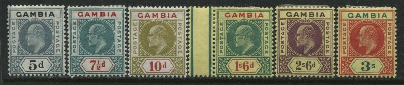 Gambia KEVII 1904-09 various from 5d to 3/ mint o.g.hinged