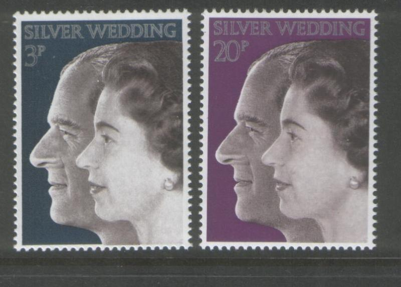 Great Britain 1972 Silver Wedding Set of (2) Scott #683/84
