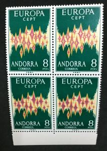 MOMEN: ANDORRA CEPT # 1972 MINT OG NH $600 BLOCK #1