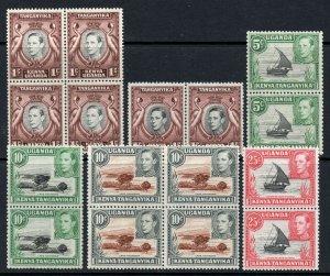 KUT 1938 KGVI small range of BLOCKS and pairs mint