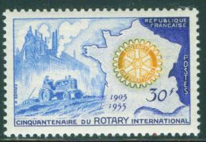 FRANCE Scott 741, MNH** Rotary Intl symbol over Map stamp