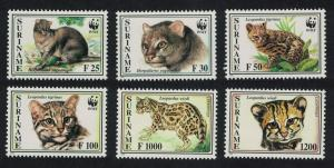 Suriname WWF Little Spotted Cat and Jaguarundi 6v including two without WWF logo