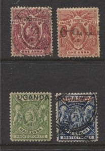 STAMP STATION PERTH Uganda Protectorate #69,70,77,78 QV Definitive Used Wmk.2
