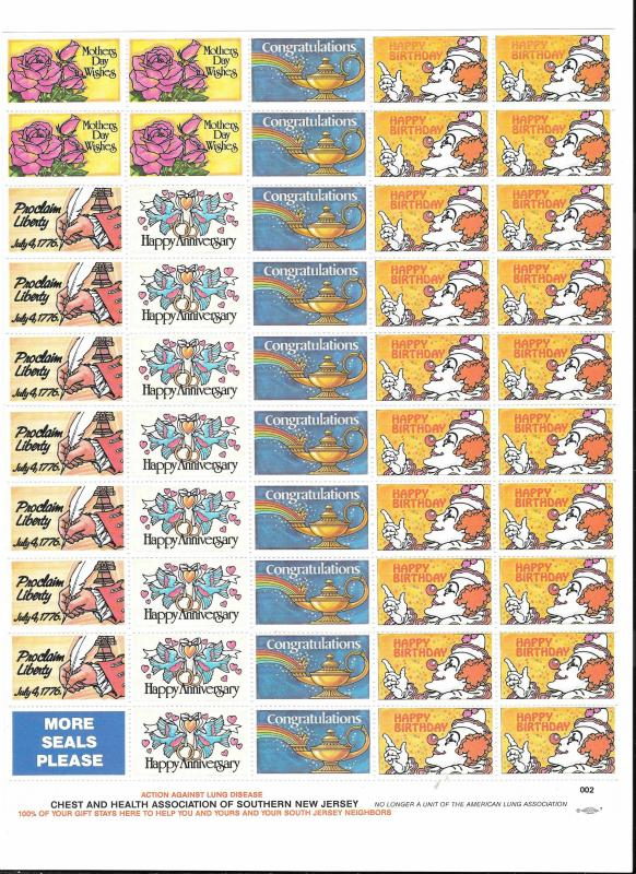 Chest Health Assoc Southern NJ Lung Disease 50 MNH Cinderella Poster Stamps Seal