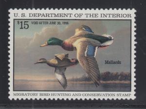 US Sc RW62 MNH. 1995 $15 Mallards, Duck Stamp VF