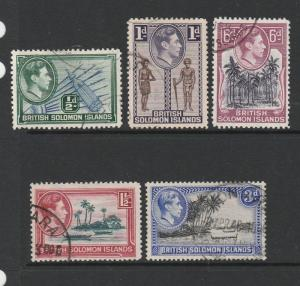 Br Solomons 1939/51 5 vals to 3d ( P13.5 ) FU as shown