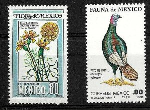 #901 MEXICO 1980 FAUNA FLORA BIRDS FLOWERS YV 891-2 MNH