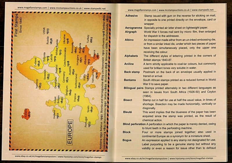 SHORT REFERENCE BOOK TO PHILATELIC TERMS with FREE Perforation Gauge