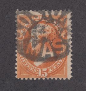 US Sc 163 used 1873 15c Webster w/ VF Boston, Mass Negative Cancel