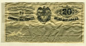 COLOMBIA; 1890 classic CUBIERTAS Stamp fair unused 20c. item,