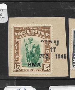 NORTH BORNEO (P0306B) 15C  HUNTER   BMA PIECE SIBU SARAWAK LINOTYPE PIECE VFU