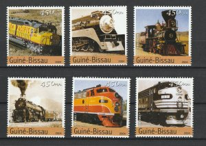 Guinea-Bissau MNH Set Of 6 Locomotives 2004