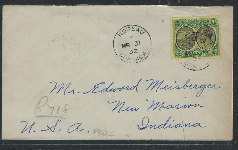 DOMINICA  (P0312B) KEV 5/-  1932 REG TO USA