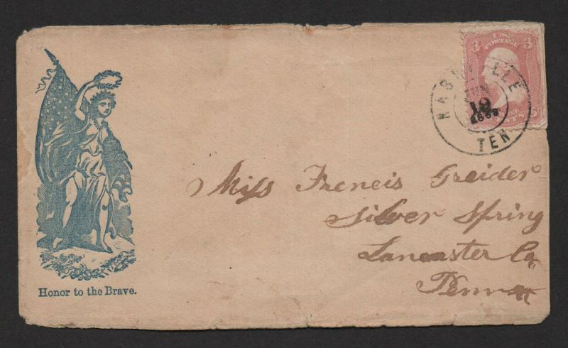 $Union Patriotic cover woman+flag honor to the brave Nashville Jun 19, 1863
