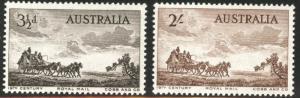 AUSTRALIA Scott 281-282 MH* 1955 Mail coach set