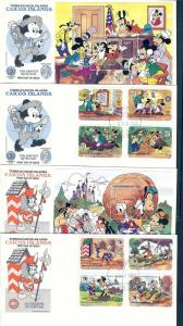 Caicos Islands, 78-87, Disney - 1985 Set (4) FDC's,**Used**
