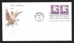 UNITED STATES FDC (18¢) 'B' Rate COIL 1981 Farnam