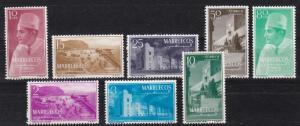 1956 Morocco Northern Zone  Scott 1-8 Sultan and scenes MHR