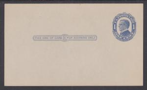 US Sc UX22 mint 1910 1c blue McKinley Postal Card, crisp & VF