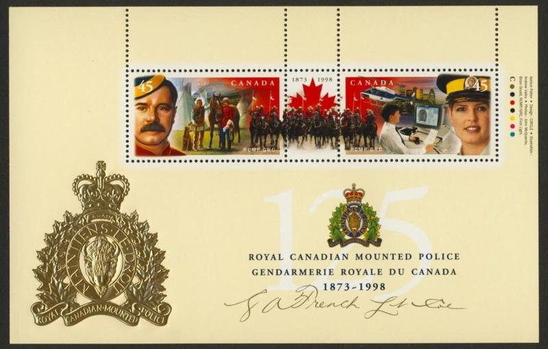 Canada 1737c MNH RCMP 125th Helicopter, Horse, RCMP Ride, Signature