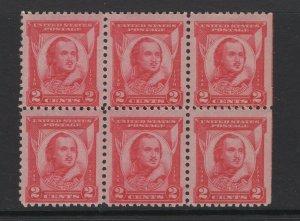 United States 1931 General Casimir Pulaski Block of 6 Stamps Scott 690 MNH