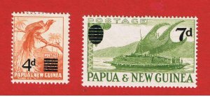 Papua #137-138  MVFLH OG  Surcharged  Free S/H