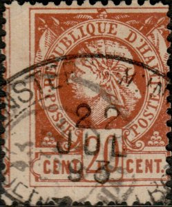 HAÏTI - 1893 Mi.12 20c brown LIBERTY cancelled DUTCH SHIP CANCEL