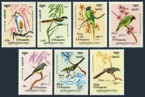 Cambodia 470-476,MNH.Michel 550-556.Birds 1984:Ibis,Schach,Psittacula,Chloropsis