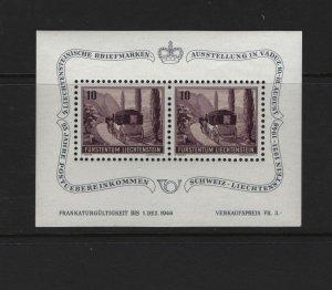 LIECHTENSTEIN B18 Souvenir Sheet, MNH, 1946 Post Coach