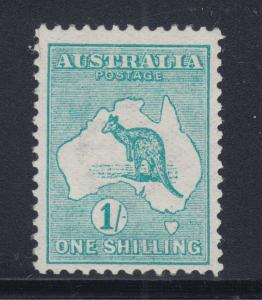 Australia Sc 10 MLH. 1913 1sh blue green Kangaroo, wide Crown & Wide A watermark